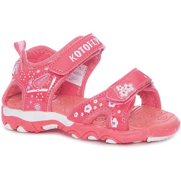 Сандалии для девочки КотофейПляжная обувь<br>Сандалии для девочки Котофей<br>Самая летняя и очень легкая обувь! Сандалии имеют небольшой мягкий задник и открытый нос. Украшены стильными контрастными цветами, строчками и декоративными элементами. Выполнены из износостойкой и надёжной искусственной кожи. Подошва этой модели анатомическая, учитывает особенности стопы, выполнена из термоэластопласта, с текстильным материалом подкладки. Две удобные \липучки\, максимально комфортно и быстро регулируют обувь на ноге. Эти сандалии прекрасно подойдут для походов в бассейн или на пляж в жаркие летние дни!<br>Материал верха<br>    3 Искусственная кожа<br><br>Материал подклада<br>    1 Текстильная<br><br>Материал подошвы<br>    ТЭП<br>Ширина мм: 219; Глубина мм: 154; Высота мм: 121; Вес г: 343; Цвет: розовый; Возраст от месяцев: 15; Возраст до месяцев: 18; Пол: Женский; Возраст: Детский; Размер: 22,24,23; SKU: 6673494;