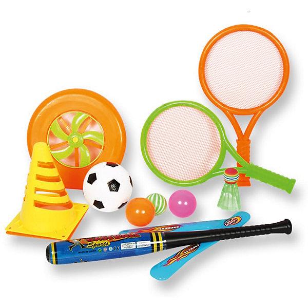 Игровой набор для детей 4 в 1, 11 предметов в сумке,YG SportИгровые наборы<br>Характеристики товара:<br><br>• материал: пластик<br>• возраст ребёнка: от 3 лет<br>• диаметр диска: 20 см<br>• длина биты: 47 см<br>• длина ракетки: 36 см<br>• размеры упаковки: 24х14х45 см<br><br>Игровой набор для активный игр 4 в 1 можно взять с собой на отдых, играть в парке или в скверах, на пляжной зоне, во дворе на игровой площадке.<br><br>Игры рассчитаны на развитие ловкости, скорости и координации движений, а также помогает в укреплении общефизического состояния детей. Все составляющие выполнены из высококачественного и прочного материала, не содержащего в составе токсичных красителей.<br><br>В комплекте: <br>• футбольный мяч, <br>• волан, <br>• бейсбольную бита, <br>• 2 ракетки, <br>• 2 мяча, <br>• 2 диска, <br>• 2 конуса.<br>Ширина мм: 240; Глубина мм: 140; Высота мм: 450; Вес г: 346; Возраст от месяцев: 36; Возраст до месяцев: 72; Пол: Унисекс; Возраст: Детский; SKU: 6674852;