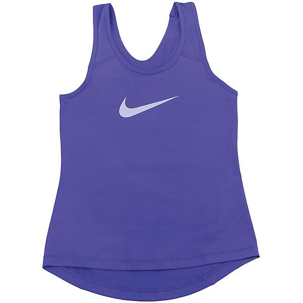 Майка NIKEФутболки, поло и топы<br>Характеристики товара:<br><br>• цвет: фиолетовый<br>• спортивный стиль<br>• состав: 90% полиэстер, 10% спандекс, материал Dri-FIT<br>• ткань выводит лишнюю влагу<br>• комфортная посадка<br>• ткань оказывает поддержку мышцам и стимулирует кровообращение<br>• мягкие швы не натирают<br>• не сковывает движения<br>• без рукавов<br>• принт<br>• машинная стирка<br>• износостойкий материал<br>• коллекция: весна-лето 2017<br>• страна бренда: США<br>• страна изготовитель: Шри-Ланка<br><br>Продукция бренда NIKE известна высоким качеством и уникальным узнаваемым дизайном. Материал Dri-FIT, из которого сшито изделие, помогает создать для тела необходимую вентиляцию и вывод влаги.<br><br>Материал Dri-FIT также обеспечивает вещам долгий срок службы и отличный внешний вид даже после значительного количества стирок. Уход за изделием прост - достаточно машинной стирки на низкой температуре.<br><br>Легкий и эластичный материал создает комфортную посадку, вещь при этом смотрится очень стильно. Благодаря универсальному цвету она отлично смотрится с разной одеждой и обувью.<br><br>Майку NIKE (Найк) можно купить в нашем интернет-магазине.<br>Ширина мм: 199; Глубина мм: 10; Высота мм: 161; Вес г: 151; Цвет: лиловый; Возраст от месяцев: 132; Возраст до месяцев: 144; Пол: Унисекс; Возраст: Детский; Размер: 146/158,122/128,158/170,134/140,128/134; SKU: 6676463;
