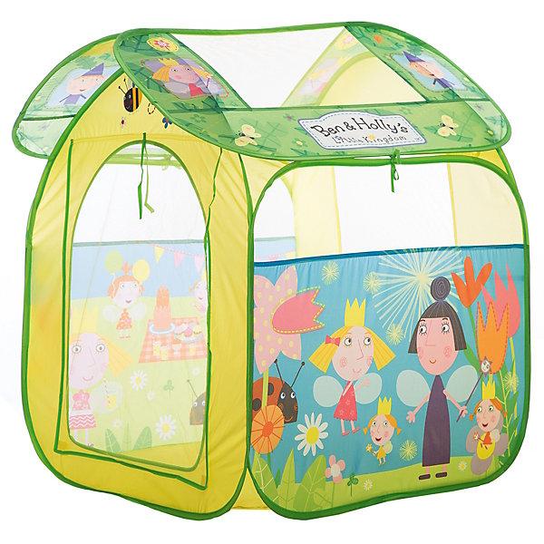 Игровая палатка Бен и Холли, 83*100*80 см, РосмэнИгровые палатки<br>Характеристики:<br><br>• для детей в возрасте: от 3 лет<br>• размер: 83х100х80 см.<br>• материал: полиэстер, пластик<br>• упаковка: чехол<br>• размер упаковки: 39х39х4 см.<br>• вес: 748 гр.<br><br>Красочная игровая палатка «Бен и Холли» предназначена для игр дома и на улице. Она состоит из 2 частей (основного корпуса и крыши), каждая из которых оснащена сетчатыми окошками для вентиляции. Входной полог закрывается на липучки. На две стороны и крышу нанесены изображения любимых персонажей. <br><br>Благодаря удобному самораскладывающемуся каркасу, палатку можно легко и быстро складывать и раскладывать. В сложенном виде палатка компактна и не занимает много места. Палатка изготовлена из полиэстера, каркас пластиковый. Товар сертифицирован.<br><br>Игровую палатку Бен и Холли, 83*100*80 см, Росмэн можно купить в нашем интернет-магазине.<br>Ширина мм: 390; Глубина мм: 390; Высота мм: 55; Вес г: 748; Возраст от месяцев: 36; Возраст до месяцев: 2147483647; Пол: Унисекс; Возраст: Детский; SKU: 6724880;