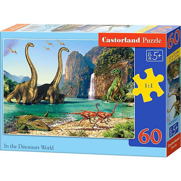 Пазл Castorland Динозавры, 60 деталейПазлы для малышей<br>Характеристики:<br><br>• возраст: от 5 лет<br>• количество деталей: 60 шт.<br>• размер собранного пазла: 32х23 см.<br>• материал: картон<br>• упаковка: картонная коробка<br>• размер упаковки: 18x4x13 см.<br>• вес: 150 гр.<br>• страна обладатель бренда: Польша<br><br>Пазл «Динозавры» от Castorland (Касторленд) отличается высоким качеством, высоким уровнем полиграфии, насыщенными цветами и идеальной стыковкой элементов. Из 60 элементов пазла ребенок соберет красочную картину с изображением доисторических животных обитавших на Земле в Юрский период.<br><br>Пазл Динозавры, 60 деталей, Castorland (Касторленд) можно купить в нашем интернет-магазине.<br>Ширина мм: 180; Глубина мм: 130; Высота мм: 40; Вес г: 150; Возраст от месяцев: 60; Возраст до месяцев: 2147483647; Пол: Унисекс; Возраст: Детский; SKU: 6725087;