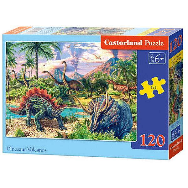 Пазл Castorland Динозавры, 120 деталейПазлы классические<br>Характеристики:<br><br>• возраст: от 6 лет<br>• количество деталей: 120 шт.<br>• размер собранного пазла: 32х23 см.<br>• материал: картон<br>• упаковка: картонная коробка<br>• размер упаковки: 17,5x3,7x13 см.<br>• вес: 300 гр.<br>• страна обладатель бренда: Польша<br><br>Пазл «Динозавры» от Castorland (Касторленд) отличается высоким качеством, высоким уровнем полиграфии, насыщенными цветами и идеальной стыковкой элементов. Из 120 элементов пазла ребенок соберет красочную картинку, на которой изображены динозавры на фоне величественных гор и пышной растительности.<br><br>Пазл Динозавры, 120 деталей, Castorland (Касторленд) можно купить в нашем интернет-магазине.<br>Ширина мм: 175; Глубина мм: 130; Высота мм: 37; Вес г: 300; Возраст от месяцев: 72; Возраст до месяцев: 2147483647; Пол: Унисекс; Возраст: Детский; SKU: 6725096;