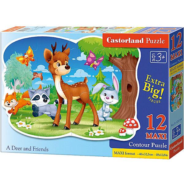 Макси-пазл Castorland Олень с друзьями, 12 деталейПазлы для малышей<br>Характеристики:<br><br>• возраст: от 3 лет<br>• количество деталей: 12 деталей MAXI<br>• размер собранного пазла: 45х32,5 см.<br>• материал: картон<br>• упаковка: картонная коробка<br>• размер упаковки: 32x4,7x22 см.<br>• вес: 400 гр.<br>• страна обладатель бренда: Польша<br><br>Из 12 больших элементов пазла ребенок соберет красочную картинку с изображением олененка, который играет на лесной полянке со своими друзьями. Благодаря фигурной форме картинки, процесс сбора элементов в одно изображение будет увлекательным и интересным.<br><br>Пазл Олень с друзьями, 12 деталей MAXI, Castorland (Касторленд) можно купить в нашем интернет-магазине.<br>Ширина мм: 320; Глубина мм: 220; Высота мм: 47; Вес г: 400; Возраст от месяцев: 36; Возраст до месяцев: 2147483647; Пол: Унисекс; Возраст: Детский; SKU: 6725120;