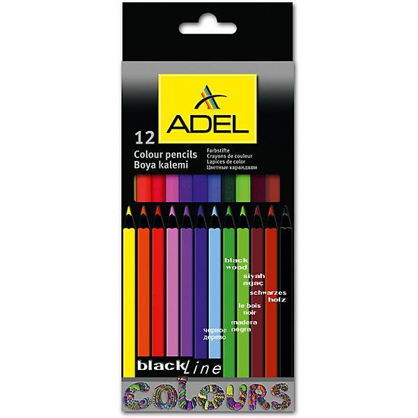 ADEL ADEL Карандаши цветные Blackline-PB, шестигранные, 12 цветов. карандаши цветные evolution 18 цветов b937513