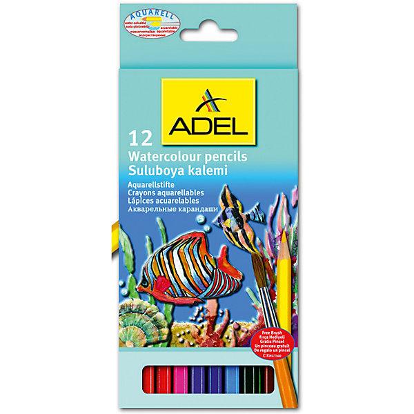 ADEL ADEL Карандаши цветные акварельные Aquacolor, 12 цветов + кисточка. centrum карандаши цветные monster high