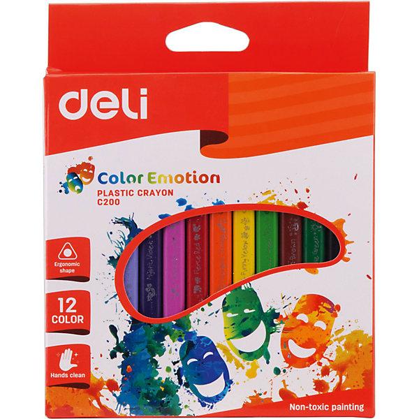 Deli Deli Восковые трехгранные мелки, 12 цветов. карандаши восковые мелки пастель мульти пульти карандаши цветные трехгранные енот в испании 18 цветов