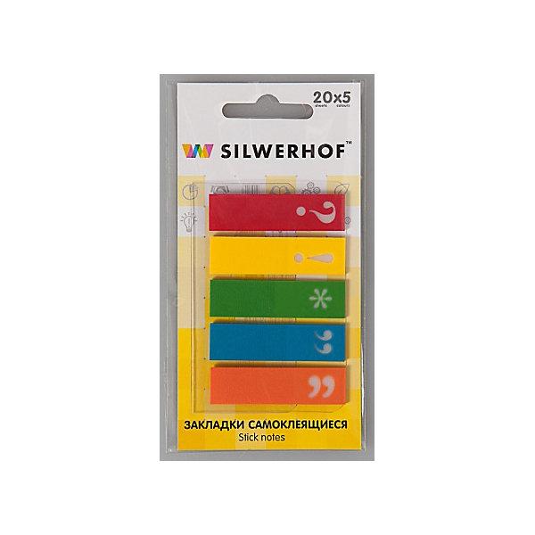 Silwerhof Закладки самоклеящиеся пластиковые Знаки препинания, 5 цветов.Школьные аксессуары<br>Пластиковые закладки  с рисунком Знаки препинания для быстрого поиска нужной страницы, на которых можно легко наносить надписи шариковой ручкой. Закладки удаляются, не оставляя следов клея и не повреждая бумагу. Подходят для многоразового использования. Размер 12х45 мм, склейки по 20 листов.<br>Ширина мм: 120; Глубина мм: 80; Высота мм: 5; Вес г: 9; Возраст от месяцев: 72; Возраст до месяцев: 2147483647; Пол: Унисекс; Возраст: Детский; SKU: 6725483;