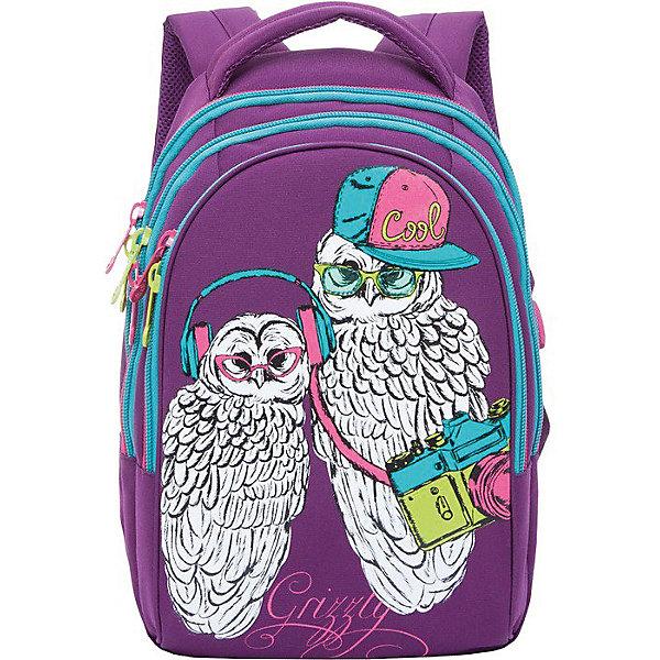 Рюкзак школьный Grizzly, фиолетовыйРюкзаки<br>Характеристики:<br><br>• возраст от: 6 лет;<br>• полужесткая анатомическая спинка;<br>• мягкая укрепленная ручка;<br>• укрепленные лямки;<br>• мягкое дно;<br>• тип застежки: молния;<br>• вмещает формат А4;<br>• материал: нейлон<br>• размер рюкзака: 28х41х20 см;<br>• вес: 610 г.<br><br>Молодежный рюкзак имеет три отделения, внутренний карман-органайзер. Рюкзак подходит ученикам средней школы. Рюкзак оформлен в фиолетовом цвете, декорирован изображением совы с фотоаппаратом и совенка в наушниках.<br><br>Рюкзак Grizzly фиолетовый можно купить в нашем интернет-магазине.<br>Ширина мм: 280; Глубина мм: 200; Высота мм: 410; Вес г: 910; Возраст от месяцев: 72; Возраст до месяцев: 192; Пол: Женский; Возраст: Детский; SKU: 6727484;
