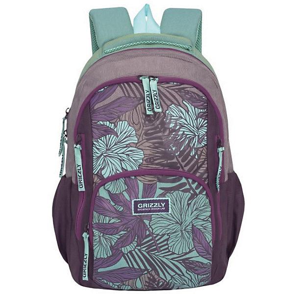Рюкзак школьный Grizzly, фиолетовый/бирюзовыйРюкзаки<br>Характеристики:<br><br>• возраст от: 6 лет;<br>• молодежный рюкзак;<br>• полужесткая анатомическая спинка;<br>• дополнительная ручка-петля;<br>• мягкая укрепленная ручка;<br>• укрепленные лямки;<br>• мягкое дно;<br>• тип застежки: молния;<br>• вмещает формат А4;<br>• материал: полиэстер принтованный;<br>• размер рюкзака: 31х42х20 см;<br>• вес: 662 г.<br><br>Молодежный рюкзак имеет два отделения, внутренний карман на молнии, внутренний карман-пенал для карандашей. Рюкзак подходит ученикам средней школы. Рюкзак оформлен в фиолетовом цвете, декорирован цветочным принтом.<br><br>RD-754-1 рюкзак Grizzly фиолетовый-бирюзовый можно купить в нашем интернет-магазине.<br>Ширина мм: 290; Глубина мм: 200; Высота мм: 420; Вес г: 10; Возраст от месяцев: 72; Возраст до месяцев: 192; Пол: Женский; Возраст: Детский; SKU: 6727486;