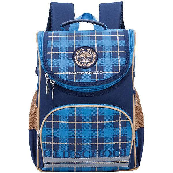 Рюкзак школьный Grizzly 1 отделениеРюкзаки<br>Рюкзак школьный, одно отделение, объемный карман на молнии на передней стенке, боковые карманы из сетки, откидное жесткое дно, разделительная перегородка-органайзер, укрепленная спинка, дополнительная ручка-петля, укрепленные лямки, брелок-катафот, светоотражающие элементы с четырех сторон.<br>Вес, г: 694<br>Размер, см: 25х33х13<br>Состав: Полиэстр<br>Наличие светоотражающих элементов:  да<br>Материал: Полиэстр<br>Спина:  жесткая<br>Наличие дополнительных карманов внутри:  нет<br>Дно выбрать:  жесткое<br>Количество отделений внутри:  1<br>Боковые карманы: да<br>Замок:  Молния<br>Вмещает А4:  да