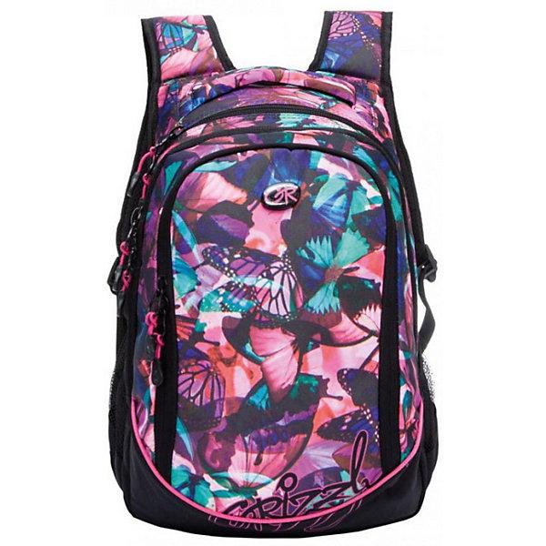 Рюкзак школьный Grizzly, фуксия бабочкиРюкзаки<br>Характеристики:<br><br>• возраст от: 6 лет;<br>• школьный рюкзак;<br>• полужесткая анатомическая спинка;<br>• мягкая укрепленная ручка;<br>• укрепленные лямки;<br>• мягкое дно;<br>• тип застежки: молния;<br>• вмещает формат А4;<br>• материал: полиэстер принтованный, нейлон 900D;<br>• размер рюкзака: 29х40х19 см;<br>• вес: 728 г.<br><br>Школьный рюкзак имеет три отделения, боковые карманы из сетки, внутренний карман на молнии, внутренний составной пенал-органайзер. Рюкзак оформлен в фиолетовом цвете, декорирован принтом - ромбы плавно перемешиваются в разных цветах.<br><br>Рюкзак школьный Grizzly бабочки можно купить в нашем интернет-магазине.<br>Ширина мм: 290; Глубина мм: 190; Высота мм: 400; Вес г: 728; Возраст от месяцев: 72; Возраст до месяцев: 192; Пол: Женский; Возраст: Детский; SKU: 6727502;