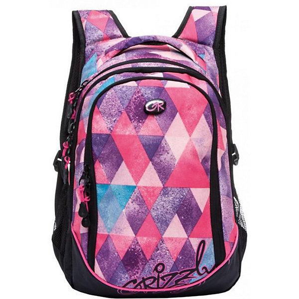 Рюкзак школьный Grizzly, фиолетовые ромбыРюкзаки<br>Характеристики:<br><br>• возраст от: 6 лет;<br>• школьный рюкзак;<br>• полужесткая анатомическая спинка;<br>• мягкая укрепленная ручка;<br>• укрепленные лямки;<br>• мягкое дно;<br>• тип застежки: молния;<br>• вмещает формат А4;<br>• материал: полиэстер принтованный, нейлон 900D;<br>• размер рюкзака: 29х40х19 см;<br>• вес: 728 г.<br><br>Школьный рюкзак имеет три отделения, боковые карманы из сетки, внутренний карман на молнии, внутренний составной пенал-органайзер. Рюкзак оформлен в фиолетовом цвете, декорирован принтом - ромбы плавно перемешиваются в разных цветах.<br><br>Рюкзак школьный Grizzly ромбы фиолетовые можно купить в нашем интернет-магазине.<br>Ширина мм: 290; Глубина мм: 190; Высота мм: 400; Вес г: 728; Возраст от месяцев: 72; Возраст до месяцев: 192; Пол: Женский; Возраст: Детский; SKU: 6727503;
