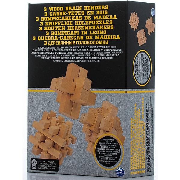 Набор головоломок 3 штуки, Spin MasterКлассические головоломки<br>Характеристики товара:<br><br>• возраст от 8 лет;<br>• материал: дерево;<br>• в комплекте: 3 головоломки;<br>• размер упаковки 28х19х9 см;<br>• страна производитель: Китай.<br><br>Набор головоломок Spin Master включает в себя деревянные детали, из которых нужно собрать необходимую фигуру. В наборе сразу 3 разные головоломки. Игра развивает логическое мышление, смекалку и сообразительность.<br><br>Набор головоломок Spin Master можно приобрести в нашем интернет-магазине.<br>Ширина мм: 190; Глубина мм: 90; Высота мм: 280; Вес г: 642; Возраст от месяцев: 96; Возраст до месяцев: 2147483647; Пол: Унисекс; Возраст: Детский; SKU: 6728763;