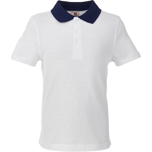 Футболка-поло для мальчика BUTTON BLUEБлузки и рубашки<br>Футболка-поло для мальчика BUTTON BLUE<br>Прекрасная альтернатива сорочке - белое поло! По удобству и комфорту, поло для мальчиков  в школу не менее удобно, чем футболка с коротким рукавом, но поло выглядит строже и наряднее. Небольшой цветовой акцент, воротник и внутренняя планка, придает модели изюминку.<br>Состав:<br>100% хлопок<br>Ширина мм: 199; Глубина мм: 10; Высота мм: 161; Вес г: 151; Цвет: белый; Возраст от месяцев: 72; Возраст до месяцев: 84; Пол: Мужской; Возраст: Детский; Размер: 122,164,158,152,146,140,134,128; SKU: 6739090;