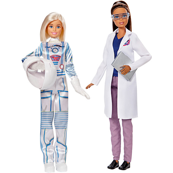 Набор из 2-х кукол Barbie Астронавт и ИсследовательницаПопулярные игрушки<br>Характеристики товара:<br><br>• возраст: от 3 лет<br>• материал: пластик;<br>• высота кукол: 28-30 см;<br>• размер упаковки: 31X32X7 см;<br>• страна бренда: США<br>• страна изготовоитель: Китай<br><br>Набор Barbie®, посвященные разным профессиям, помогут маленьким фантазеркам узнать больше о разных профессиях. <br><br>Кукла-астронавт одета в скафандр, перчатки, ботинки и крутой шлем. Исследовательница помогает отправить астронавта в космос. На ней белый халат, голубая рубашка, фиолетовые брюки и ботинки. Очки и ноутбук помогают ей исследовать галактику.<br><br>Набор из 2-х кукол Barbie Астронавт и Исследовательница можно купить в нашем интернет-магазине.<br>Ширина мм: 328; Глубина мм: 322; Высота мм: 68; Вес г: 486; Возраст от месяцев: 36; Возраст до месяцев: 72; Пол: Женский; Возраст: Детский; SKU: 6739668;