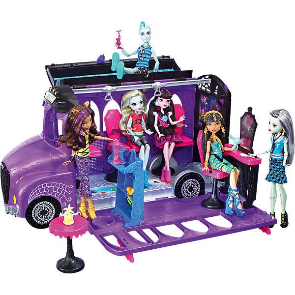 Игровой набор Monster High «Школьный автобус»Транспорт и коляски для кукол<br>Характеристики:<br><br>• возраст: от 6 лет;<br>• материал: металл, пластик;<br>• комплектация: автобус, тематические аксессуары (сиденья для кукол приобретаются отдельно и в комплект не входят);<br>• вес в упаковке: 3,73 кг;<br>• размеры упаковки: 61,1х36,5х23,1 см;<br>• упаковка: блистер на картонной подложке.<br><br>Школьный автобус Monster High (Монстер Хай), который превращается в СПА-салон. Нужно нажать на кнопку, откинуть верх, опустить стенку и открыть СПА-салон с лаунж-зоной на крыше, яркими креслами, пиранья-педикюром, парикмахерской, смузи-баром и джакузи. Игрушка способствует развитию творческого мышления и воображения.<br><br>Игровой набор Monster High (Монстер Хай) «Школьный автобус»  можно приобрести в нашем интернет-магазине.<br>Ширина мм: 611; Глубина мм: 365; Высота мм: 231; Вес г: 3730; Возраст от месяцев: 72; Возраст до месяцев: 120; Пол: Женский; Возраст: Детский; SKU: 6739687;