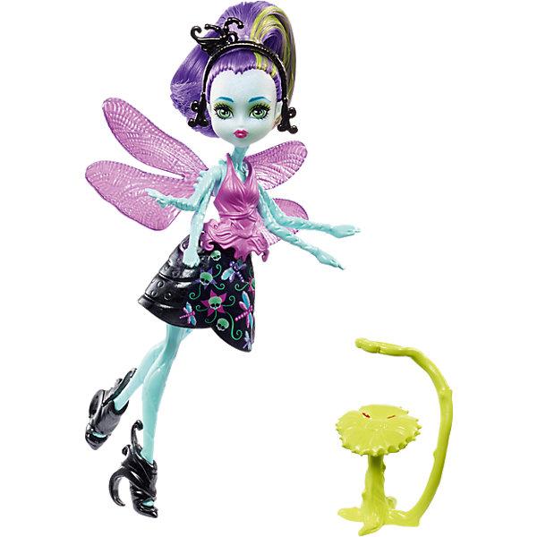 цена на Mattel Мини-кукла Monster High «Цветочные Монстры» Стрекоза Вингрид с питомцем, 13 см