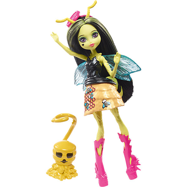 цена на Mattel Мини-кукла Monster High «Цветочные Монстры» Пчела Беатрис с питомцем, 13 см