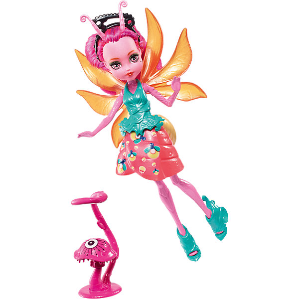 цена на Mattel Мини-кукла Monster High «Цветочные Монстрики» Светлячок Люмина с питомцем, 13 см