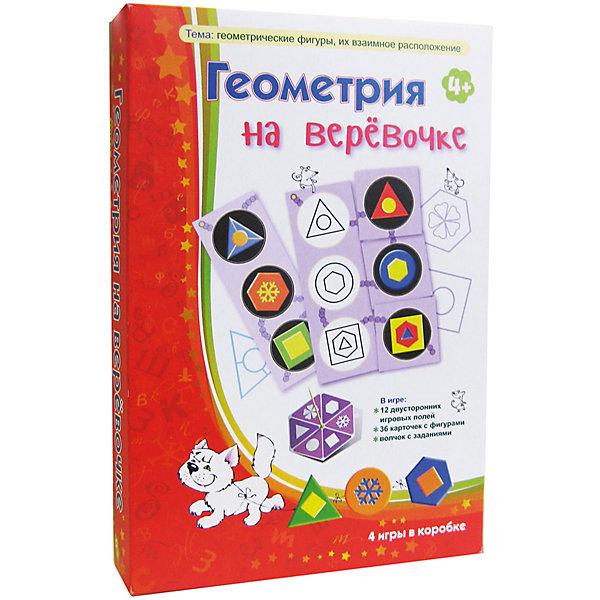 Геометрия на верёвочке, Игротека Татьяны БарчанИзучаем цвета и формы<br>Геометрия на верёвочке, Игротека Татьяны Барчан.<br><br>Характеристики:<br><br>• Для детей в возрасте: от 4 до 6 лет<br>• В комплекте: 12 двухсторонних игровых полей, 36 карточек с цветными фигурками, волчок с заданиями для дополнительных вариантов игры<br>• Тема: Геометрические фигуры и их взаимное расположение<br>• Материал: плотный качественный картон<br>• Производитель: ЦОТР Ребус (Россия)<br>• Упаковка: картонная коробка<br>• Размер упаковки: 268х182х42 мм.<br>• Вес: 330 гр.<br><br>Почему вдруг геометрия – на верёвочке? Чтобы не растерялись  фигурки во время игры в лото! Всем надо сосредоточиться, включить внимание, научиться слушать и самое главное – слышать, что говорит ведущий. А говорит он непростые фразы: «У меня на одной картинке нарисован круг в квадрате, а на другой – квадрат в круге. Поищите-ка их у себя на больших карточках!». Ещё трудней – самому описать свой «чертёжик», особенно если тебе всего лишь 4 года. <br><br>Когда все три карточки для игрового поля найдены, малышам надо решить ещё одну, пространственную, задачку: собрать на одну «верёвочку» все шесть кругов с фигурками. Игра знакомит малышей с геометрическими фигурами, их взаимоположением, развивает внимание, пространственное воображение и слуховое восприятие.<br><br>Игру Геометрия на верёвочке, Игротека Татьяны Барчан можно купить в нашем интернет-магазине.<br>Ширина мм: 270; Глубина мм: 180; Высота мм: 40; Вес г: 337; Возраст от месяцев: 48; Возраст до месяцев: 72; Пол: Унисекс; Возраст: Детский; SKU: 6751308;