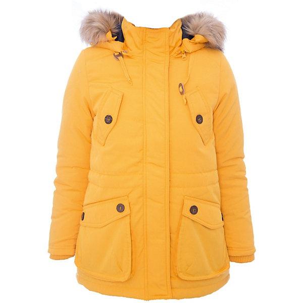 Куртка текстильная для девочки ScoolВерхняя одежда<br>Куртка текстильная для девочки Scool<br>Практичная утепленная куртка с капюшоном из ткани с водоотталкивающей пропиткой защитит ребенка в холодную промозглую погоду. Модель с заниженной спинкой капюшон декорирован искусственным мехом. Специальный карман для фиксации бегунка на молнии не позволит застежке травмировать нежную детскую кожу. Куртка с удобными большими накладными карманами. На талии изнутри предусмотрен регулируемый шнур - кулиска для дополнительного сохранения тепла.Преимущества: Капюшон и мех на пуговицах при желании можно отстегутьВоротник и манжеты из мягкой трикотажной тканиСветоотражающие элементы на рукаве и по низу изделия обеспечат безопасность ребенка в темное время суток<br>Состав:<br>Верх: 65% полиэстер, 35% хлопок, подкладка: 100% полиэстер, утеплитель: 100% полиэстер, 250 г/м2<br>Ширина мм: 356; Глубина мм: 10; Высота мм: 245; Вес г: 519; Цвет: желтый; Возраст от месяцев: 72; Возраст до месяцев: 84; Пол: Женский; Возраст: Детский; Размер: 122,164,158,152,146,140,134,128; SKU: 6754653;