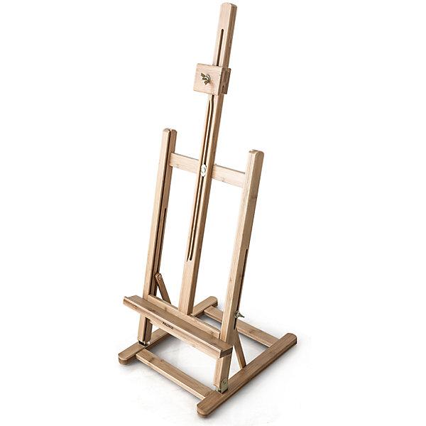 Настольный мольберт МЛ-58Мольберты<br>Компактный мольберт из натурального материала с металлической фурнитурой. Представляет собой настольный аналог больших студийных мольбертов для работы с полотнами небольшого формата. Изготовлен из прочной бамбуковой древесины и оснащен системой регулировки наклона холста и высоты полочки, а также фиксатором холста. Благодаря квадратному основанию, оснащенному предотвращающими скольжение упорами, мольберт особенно устойчив. Может стать изюминкой стильного интерьера в качестве подставки для картин, фотографий или календарей.<br><br>Габариты:<br><br>Высота – 75-95 см<br>Основание – 27,5 х 32 см<br>Полка – 29 х 3 см<br>Максимальная высота холста – 50 см<br>Вес – 1,5 кг<br><br>Настольный мольберт МЛ-58:<br><br>• прочный и красивый<br>• из натурального бамбука<br>• с устойчивой к коррозии металлической фурнитурой <br>• с регулируемым наклоном холста и высотой полки<br>• может служить подставкой для фотографий<br>Ширина мм: 670; Глубина мм: 305; Высота мм: 77; Вес г: 1500; Возраст от месяцев: 84; Возраст до месяцев: 2147483647; Пол: Унисекс; Возраст: Детский; SKU: 6757423;