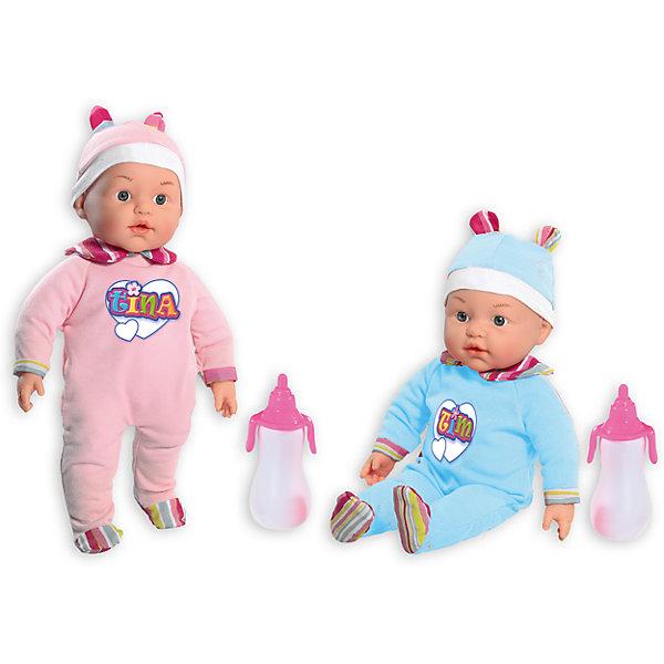 Куклы My Dolly Sucette близняшки, Loko ToysКуклы-пупсы<br>Характеристики товара:<br><br>• возраст: от 1,5 лет;<br>• материал: пластик, текстиль, ПВХ;<br>• в комплекте: 2 куклы, 2 соски, 2 бутылочки;<br>• высота куклы: 37 см;<br>• размер упаковки: 43х41х13 см;<br>• вес упаковки: 1,11 кг;<br>• страна производитель: Китай.<br><br>Куклы «My Dolly Sucette» Loko Toys близняшки — очаровательные близнецы Тим и Тина. Они одеты в шапочки с ушками и комбинезоны, на которых имеется принт с их именами. В комплекте аксессуары по уходу за малышами. Для кормления предусмотрена удобная бутылочка. <br><br>Когда малыши заплачут, можно дать им соску, успокоить и убаюкать. Пупсов можно брать с собой на прогулку, в детский садик, в гости. Игра с куклой привьет девочке любовь, чувство ответственности, заботы и помощи окружающим. <br><br>Кукол «My Dolly Sucette» Loko Toys близняшки можно приобрести в нашем интернет-магазине.<br>Ширина мм: 430; Глубина мм: 130; Высота мм: 410; Вес г: 1110; Возраст от месяцев: 18; Возраст до месяцев: 2147483647; Пол: Женский; Возраст: Детский; SKU: 6759071;