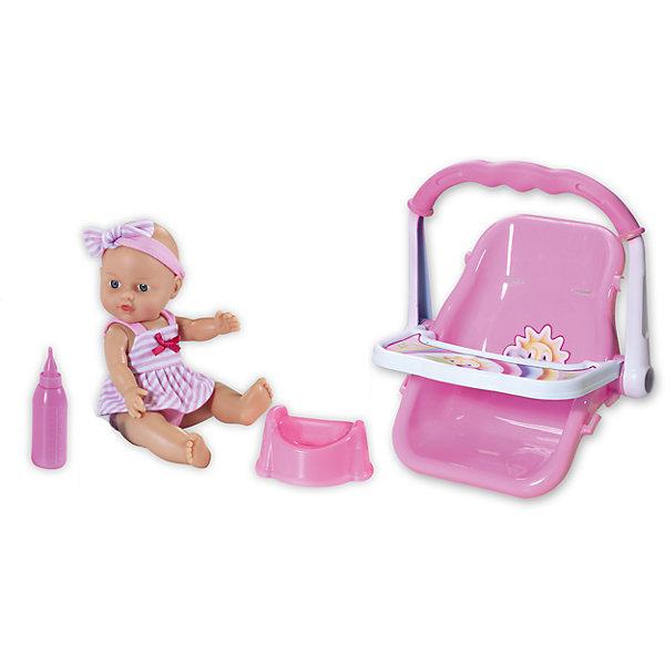 Кукла Le Petit Bebe с автокреслом, Loko ToysКуклы<br>Характеристики товара:<br><br>• возраст: от 1,5 лет;<br>• материал: пластик, текстиль, ПВХ;<br>• в комплекте: кукла, бутылочка, горшок, автокресло;<br>• высота куклы: 30 см;<br>• размер упаковки: 38х34х10 см;<br>• вес упаковки: 940 гр.;<br>• страна производитель: Китай;<br>• товар представлен в ассортименте, нет возможности выбрать конкретную расцветку.<br><br>Кукла «Le Petit Bebe» Loko Toys с автокреслом — очаровательный малыш с большими глазками. Когда малыш захочет попить, надо напоить его водой из бутылочки. После кормления нужно сразу посадить пупса на горшок, чтобы он пописал. Для безопасной перевозки в автомобиле для малыша предусмотрено автокресло со столиком и ручкой для переноски. Игра с куклой привьет девочке любовь, чувство ответственности, заботы и помощи окружающим. <br><br>Куклу «Le Petit Bebe» Loko Toys с автокреслом можно приобрести в нашем интернет-магазине.<br>Ширина мм: 380; Глубина мм: 100; Высота мм: 340; Вес г: 940; Возраст от месяцев: 18; Возраст до месяцев: 2147483647; Пол: Женский; Возраст: Детский; SKU: 6759079;