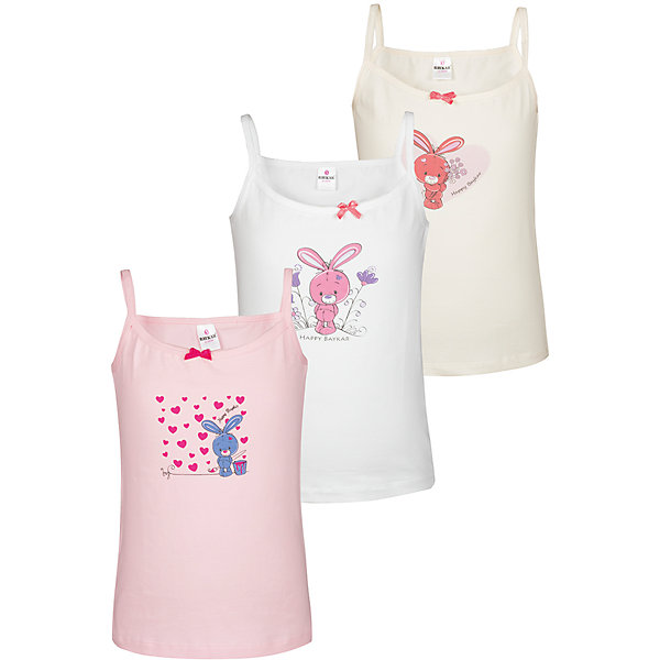 Baykar Майка (3 шт.) для девочки Baykar майка для девочки baykar цвет сиреневый персиковый белый мультиколор 3 шт n4486 22 размер 134 140