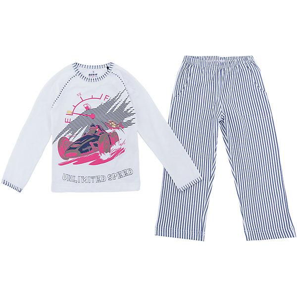 Пижама для мальчика BaykarПижамы и сорочки<br>Характеристики товара:<br><br>• цвет: белый<br>• состав ткани: 95% хлопок; 5% эластан<br>• комплектация: кофта, брюки<br>• пояс брюк: резинка<br>• сезон: круглый год<br>• страна бренда: Турция<br>• страна изготовитель: Турция<br><br>Белая пижама для мальчика Baykar украшена симпатичным принтом. Этот комплект для сна из кофты и брюк сделан из мягкого дышащего материала. <br><br>Качественная пижама для мальчика позволяет обеспечить комфортный сон. Продуманный крой обеспечивает комфортную посадку. <br><br>Пижаму для мальчика Baykar (Байкар) можно купить в нашем интернет-магазине.<br>Ширина мм: 281; Глубина мм: 70; Высота мм: 188; Вес г: 295; Цвет: белый; Возраст от месяцев: 60; Возраст до месяцев: 72; Пол: Мужской; Возраст: Детский; Размер: 110/116,98/104,116/122,104/110; SKU: 6764757;