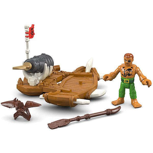 Базовая фигурка пирата Captain Kid &amp; Surf Board, Imaginext, Fisher PriceИгровые наборы с фигурками<br>Характеристики товара:<br><br>• возраст: от 3 лет;<br>• материал: пластик;<br>• в комплекте: фигурка, аксессуары;<br>• размер упаковки: 16х19х6,5 см;<br>• вес упаковки: 213 гр.;<br>• страна производитель: Китай.<br><br>Базовая фигурка пирата Captain Kid &amp; Surf Board Imaginext Fisher Price позволит детям устроить невероятные интересные игры про пиратов. В комплекте фигурка, у которой подвижные руки и ноги. В руках у пирата оружие. Он плывет на доске, на которой стоит пушка. Игрушка выполнена из качественного безопасного пластика.<br><br>Базовую фигурку пирата Captain Kid &amp; Surf Board Imaginext Fisher Price можно приобрести в нашем интернет-магазине.<br>Ширина мм: 160; Глубина мм: 65; Высота мм: 190; Вес г: 213; Возраст от месяцев: 36; Возраст до месяцев: 96; Пол: Мужской; Возраст: Детский; SKU: 6771821;