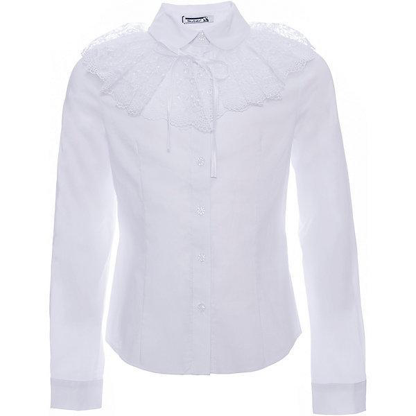 Блузка Эля для девочки SkylakeБлузки и рубашки<br>Характеристики товара:<br><br>• цвет: белый<br>• материал: 74% хлопок, 23% полиэстер, 3% лайкра<br>• манжеты на пуговицах<br>• отложной воротник<br>• застежки: пуговицы<br>• декорирована отстегивающимся воротником<br>• длинные рукава<br>• страна бренда: Российская Федерация<br>• страна производства: Российская Федерация<br><br>Школьная блузка с длинным рукавом для девочки. Однотонная блузка  прилегающего силуэта со съемным воротником. Застежка на узкую притачную планку с пуговицами. Воротник отложной на отрезной стойке. Концы воротника круглой формы.  Декоративный  большой  съемный воротник выполнен из вышитого капронового кружева. Крепится на завязках.  Рукава  втачные длинные на манжетах. Манжеты с застежкой на одну пуговицу.<br><br>Блузку Эля для девочки от бренда SKY LAKE (Скай Лэйк) можно купить в нашем интернет-магазине.<br>Ширина мм: 186; Глубина мм: 87; Высота мм: 198; Вес г: 197; Цвет: белый; Возраст от месяцев: 132; Возраст до месяцев: 144; Пол: Женский; Возраст: Детский; Размер: 152,128,158,146,140,134; SKU: 6772489;