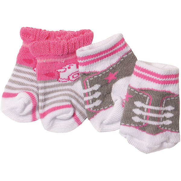 Носочки BABY born, 2 пары, серо-розовыеОдежда для кукол<br>Характеристики товара:<br>• для девочек;<br>• цвет: серо-розовый;<br>• комплект: 2 пары;<br>• из чего сделана игрушка (состав): текстиль;<br>• размер упаковки: 12х1х14 см.;<br>• вес: 34 гр.;<br>• страна обладатель бренда: Германия.<br>Носочки от бренда Zapf Creation придутся впору замечательной кукле Baby Born.<br>Эти носочки помогут разнообразить гардероб куклы, а также не дадут ей замерзнуть даже в самую холодную погоду.<br>Носочки изготовлены из качественного текстиля, они очень приятны на ощупь.<br>Их можно надевать под новые кроссовки, чтобы они не натирали игрушечному малышу.<br>В комплект входит две пары носочков.<br>Носочки BABY born моно купить в нашем интернет-магазине.
