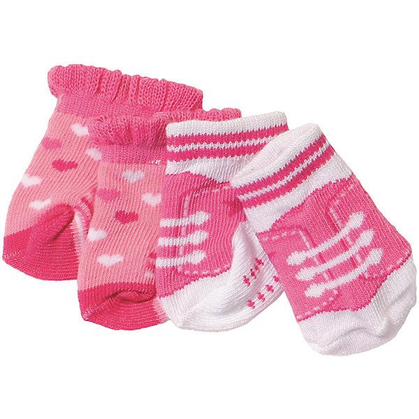 Носочки BABY born, 2 пары, розовыеОдежда для кукол<br>Характеристики товара:<br>• для девочек;<br>• цвет: розовый;<br>• комплект: 2 пары;<br>• из чего сделана игрушка (состав): текстиль;<br>• размер упаковки: 12х1х14 см.;<br>• вес: 34 гр.;<br>• страна обладатель бренда: Германия.<br>Носочки от бренда Zapf Creation придутся впору замечательной кукле Baby Born.<br>Эти носочки помогут разнообразить гардероб куклы, а также не дадут ей замерзнуть даже в самую холодную погоду.<br>Носочки изготовлены из качественного текстиля, они очень приятны на ощупь.<br>Их можно надевать под новые кроссовки, чтобы они не натирали игрушечному малышу.<br>В комплект входит две пары носочков.<br>Носочки BABY born моно купить в нашем интернет-магазине.<br>Ширина мм: 120; Глубина мм: 10; Высота мм: 140; Вес г: 34; Возраст от месяцев: 36; Возраст до месяцев: 60; Пол: Женский; Возраст: Детский; SKU: 6835378;