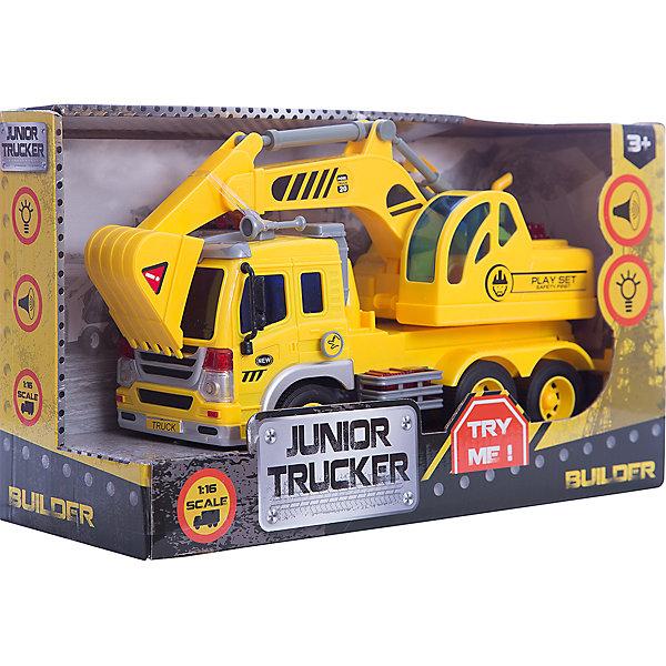 Инерционный экскаватор 1:16, Dave ToysМашинки<br>Характеристики товара:<br><br>• возраст: от 3 лет;<br>• материал: пластик;<br>• длина игрушки: 28,5 см;<br>• масштаб машины: 1:16;<br>• размер упаковки: 32,6х18,6х11,5 см;<br>• вес упаковки: 1,25 кг;<br>• страна производитель: Китай.<br><br>Инерционный экскаватор Dave Toys желтый представляет собой копию настоящего экскаватора для разгрузки строительного мусора. У него поднимается и опускается ковш, вращается кабина. Машина оснащена инерционным механизмом: чтобы привести ее в движение, надо потянуть машину немного назад и отпустить. Световые и звуковые эффекты делают игру еще увлекательней.<br><br>Инерционный экскаватор Dave Toys желтый можно приобрести в нашем интернет-магазине.<br>Ширина мм: 326; Глубина мм: 115; Высота мм: 186; Вес г: 1250; Возраст от месяцев: 36; Возраст до месяцев: 144; Пол: Мужской; Возраст: Детский; SKU: 6835716;