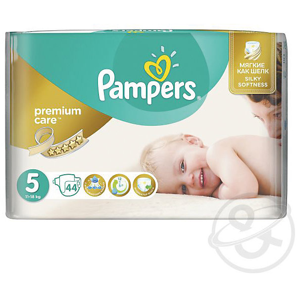 Подгузники Pampers Premium Care, 11-18 кг, 5 размер, 44 шт.Подгузники классические<br>Характеристики:<br><br>• Пол: универсальный<br>• Тип подгузника: одноразовый<br>• Коллекция: Premium Care<br>• Предназначение: для использования в любое время суток <br>• Размер: 5<br>• Вес ребенка: от 11 до 18 кг<br>• Количество в упаковке: 44 шт.<br>• Упаковка: пакет<br>• Размер упаковки: 30,5*12*23,1 см<br>• Вес в упаковке: 1 кг 147 г<br>• Эластичные застежки-липучки<br>• Подходят для чувствительной кожи<br>• Индикатор влаги<br>• Дышащие материалы<br>• Повышенные впитывающие свойства<br><br>Подгузники Pampers Premium Care, 11-18 кг, 5 размер, 44 шт., Pampers – это новейшая линейка детских подгузников от Pampers, которая сочетает в себе высокое качество и безопасность материалов, удобство использования и комфорт для нежной кожи малыша. Подгузники предназначены для детей весом до 18 кг. Инновационные технологии и современные материалы обеспечивают этим подгузникам дышащие свойства, что особенно важно для кожи малыша. <br><br>Три впитывающих слоя обеспечивают повышенные впитывающие качества, при этом верхний слой остается сухим и мягким. У подгузников предусмотрена эластичная мягкая резиночка на спинке. Широкие липучки с двух сторон обеспечивают надежную фиксацию. У подгузника предусмотрен индикатор сухости-влажности, полоска, которая по мере наполнения меняет цвет. Подгузник подходит как для мальчиков, так и для девочек. <br><br>Подгузники Pampers Premium Care, 11-18 кг, 5 размер, 44 шт., Pampers можно купить в нашем интернет-магазине.<br>Ширина мм: 431; Глубина мм: 245; Высота мм: 307; Вес г: 3083; Возраст от месяцев: 12; Возраст до месяцев: 24; Пол: Унисекс; Возраст: Детский; SKU: 6837467;