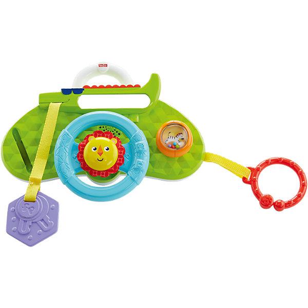 Развивающая игрушка Fisher-Price «Львенок»Развивающие центры<br>Характеристики:<br><br>• возраст: от 0 месяцев;<br>• материал: пластмасса;<br>• работает от батареек (в комплекте);<br>• тип батареек: 2 батарейки АА;<br>• комплектация: музыкальный руль, сортер для зажигания, переключатель передач с фигуркой зебры, безопасное зеркальце;<br>• вес в упаковке: 414 гр.;<br>• размеры упаковки: 24,8х20,5х9,1 см;<br>• упаковка: картонная коробка.<br><br>Обучающий руль «Львенок» легко прикрепить к коляске, чтобы все предметы для игры находились рядом. Ребенок может сигналить гудком или крутить руль со львом, чтобы послушать короткие мелодии, либо может переключать передачи на зебре и вставлять ключ зажигания.<br><br>Данная игрушка развивает тактильные навыки, зрительное и слуховое восприятие. Благодаря удобной ручке, игрушку можно везде брать с собой и крепить за специальное кольцо к сумке или коляске.<br><br>Развивающую игрушку Fisher-Price (Фишер-Прайс) «Львенок» можно приобрести в нашем интернет-магазине.<br>Ширина мм: 248; Глубина мм: 205; Высота мм: 91; Вес г: 414; Возраст от месяцев: 6; Возраст до месяцев: 12; Пол: Унисекс; Возраст: Детский; SKU: 6838615;