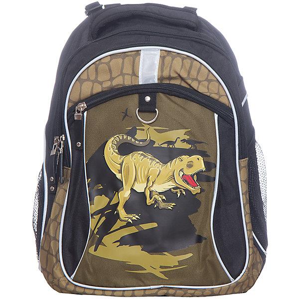 Рюкзак школьный Erich KrauseDinosaursРюкзаки<br>Характеристики товара:<br><br>• коллекция: Dinosaurs<br>• начальная и средняя школа<br>• спинка: эргономичная<br>• цвет: черный<br>• материал: полиэстер<br>• размер изделия: 38х17х28 см<br>• вес в кг:  450гр.<br>• страна бренда: Германия<br>• страна изготовитель: Китай<br><br>Рюкзак школьный ErichKrause - удобный и практичный рюкзак для учеников начальной и средней школы. Благодаря легкому весу и удобной эргономичной спинке рюкзак можно носить каждый день. <br><br>Во внутреннем отделении помещаются папки и тетради формата А4. Спереди 2 кармана на молнии, по бокам 2 небольших кармашка для мелочей. Рюкзак выполнен из прочного износостойкого полиэстера, устойчивого к морозам.<br><br>Твердая повторяет изгибы позвоночника, делая ношение комфортным. Сетчатый материал на спинке и внутренней стороне лямок обеспечивает вентиляцию воздуха.<br><br>Светоотражатели гарантируют видимость в темное время суток.<br><br>Erich Krause Рюкзак школьный Dinosaurs можно купить в нашем интернет-магазине.<br>Ширина мм: 400; Глубина мм: 350; Высота мм: 180; Вес г: 654; Возраст от месяцев: 72; Возраст до месяцев: 96; Пол: Мужской; Возраст: Детский; SKU: 6842790;