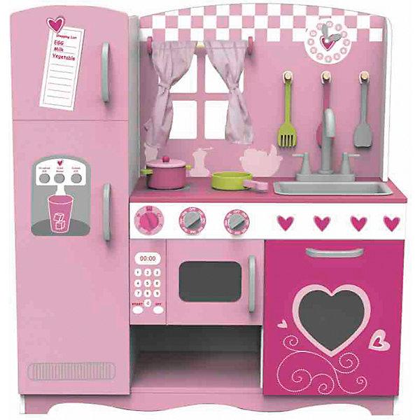 Classic World Деревянная кухня с плитой мойкой микроволновкой и холодильником Мечта поварёнка Classic World