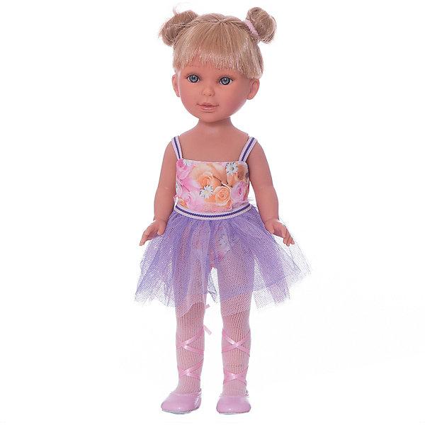 Кукла Паулина балерина, Vestida de AzulИспанские куклы<br>Характеристики товара:<br><br>• возраст: от 3 лет;<br>• материал: винил, текстиль;<br>• в комплекте: кукла, наряд;<br>• высота куклы: 33 см;<br>• размер упаковки: 40,5х22,5х10,5 см;<br>• вес упаковки: 700 гр.;<br>• страна производитель: Испания.<br><br>Кукла Паулина балерина Vestida de Azul одета в костюм балерины: фиолетовую пачку и розовые пуанты с лентами. У Паулины милое личико с большими живыми глазками, щечками с легким румянцем. Светлые волосы с челкой очень похожи на натуральные. Девочка сможет расчесывать их, укладывать, заплетать, придумывая кукле разнообразные прически.<br><br>Куклу Паулину балерину Vestida de Azul можно приобрести в нашем интернет-магазине.