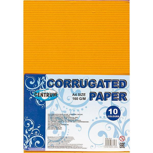 CENTRUM Centrum Набор декоративной гофрированной бумаги для детского творчества, формат А4, 10 цветов, 160 г.