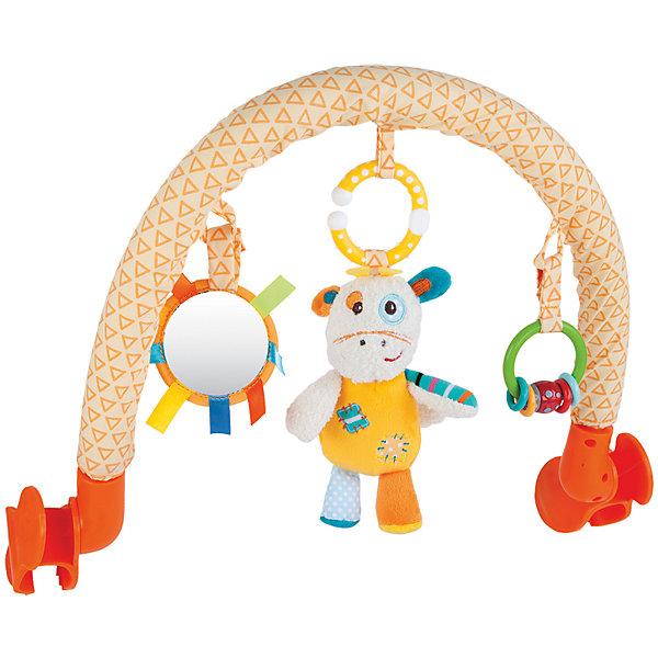 Дуга Жирафики Жирафик Дэнни с погремушкой и зеркальцемИгрушки для новорожденных<br>Характеристики:<br><br>• 3 подвески: погремушка, безопасное зеркальце, мягкая игрушка;<br>• подвески можно снимать;<br>• легко крепится к кроватке, коляске или автокреслу;<br>• размер: 33х34 см;<br>• возраст: с рождения;<br>• материал: текстиль, пластик;<br>• размер упаковки: 34х7х37 см;<br>• вес: 642 грамма;<br>• страна бренда: Россия.<br><br>Подвесная дуга развлечет малыша во время прогулки или путешествия. Она надежно фиксируется на коляске или автокресле с помощью двух боковых креплений.<br><br>Дуга имеет три развивающих элемента: мягкая игрушка, безопасное зеркальце и погремушка. Мягкая игрушка выполнена в виде забавного жирафика Дэни. Погремушка состоит из разноцветных колечек, которые очень весело гремят, если их потрясти. А в зеркальце малыш с интересом будет разглядывать свое отражение.<br><br>Игрушка способствует развитию хватательного рефлекса, тактильного, звукового и цветового восприятия.<br><br>Дугу с погремушкой, зеркальцем и мягкой игрушкой Жирафик Дэнни, Жирафики можно купить в нашем интернет-магазине.<br>Ширина мм: 370; Глубина мм: 70; Высота мм: 340; Вес г: 642; Возраст от месяцев: -2147483648; Возраст до месяцев: 2147483647; Пол: Унисекс; Возраст: Детский; SKU: 6846879;