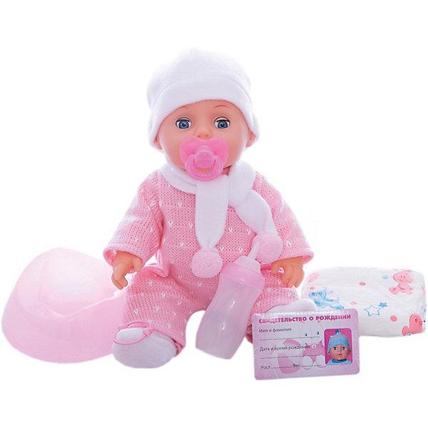 Пупс, 30 см, 3 функции, пьет и писает, КарапузИнтерактивные куклы<br>Характеристики товара:<br><br>• возраст: от 3 лет;<br>• материал: пластик, текстиль;<br>• в комплекте: пупс, бутылочка, подгузник, горшок, соска, свидетельство о рождении;<br>• высота куклы: 30 см;<br>• размер упаковки: 30х27х16 см;<br>• вес упаковки: 1,08 кг;<br>• страна производитель: Китай.<br><br>Пупс Карапуз 30 см — очаровательный малыш, одетый в теплый костюмчик, шапочку и шарфик. У куклы подвижные ручки и ножки. Малыша можно напоить из бутылочки, но затем не забыть посадить его на горшок или одеть памперс, чтобы он пописал. Чтобы уложить пупса спать, можно дать ему соску, он закроет глазки и крепко уснет. Игра с куклой привьет девочке чувство ответственности и  заботы.<br><br>Пупс Карапуз 30 см, 3 функции можно приобрести в нашем интернет-магазине.<br>Ширина мм: 300; Глубина мм: 160; Высота мм: 270; Вес г: 1080; Возраст от месяцев: 36; Возраст до месяцев: 60; Пол: Женский; Возраст: Детский; SKU: 6848821;