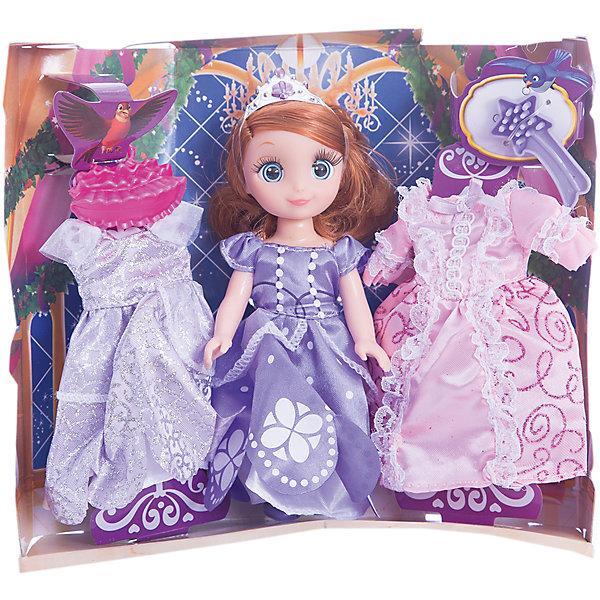 Кукла Принцесса София, 15 см, озвученная с набором одежды, КарапузКуклы<br>Характеристики товара:<br><br>• возраст: от 3 лет;<br>• материал: пластик, текстиль;<br>• в комплекте: кукла, 2 платья, аксессуары;<br>• высота куклы: 15 см;<br>• размер упаковки: 21х19х7 см;<br>• вес упаковки: 250 гр.;<br>• страна производитель: Китай.<br><br>Кукла «Принцесса София» Карапуз — чудесная принцесса, одетая в фиолетовое платье. У куклы рыжие мягкие волосы, украшенные диадемой. 2 дополнительных платья позволят менять образ принцессы. У куклы подвижные ручки и ножки. Кроме этого, она оснащена звуковым модулем, умеет говорить и петь. Выполнена из качественных безопасных материалов.<br><br>Куклу «Принцесса София» Карапуз можно приобрести в нашем интернет-магазине.<br>Ширина мм: 210; Глубина мм: 70; Высота мм: 190; Вес г: 250; Возраст от месяцев: 36; Возраст до месяцев: 60; Пол: Женский; Возраст: Детский; SKU: 6848827;