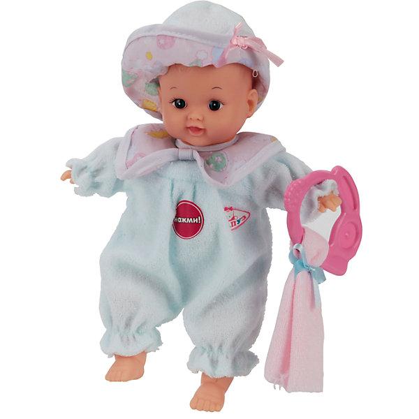 Пупс, 24 см, озвученный, 7 фраз с аксессуарами в сумке, КарапузИнтерактивные куклы<br>Характеристики товара:<br><br>• возраст: от 3 лет;<br>• материал: пластик, текстиль;<br>• в комплекте: кукла, прорезыватель, полотенце;<br>• тип батареек: 3 батарейки LR44;<br>• наличие батареек: не входят в комплект;<br>• высота куклы: 24 см;<br>• размер упаковки: 21х15х11 см;<br>• вес упаковки: 240 гр.;<br>• страна производитель: Китай.<br><br>Пупс озвученный Карапуз — очаровательный малыш с выразительными глазками. Пупс одет в комбинезон и шапочку. У него подвижные ручки и ножки. Кукла оснащена звуковым модулем. Если нажать на животик пупса, то он произнесет 7 фраз. Игрушка сделана из качественных безопасных материалов.<br><br>Пупса озвученного Карапуз можно приобрести в нашем интернет-магазине.<br>Ширина мм: 150; Глубина мм: 110; Высота мм: 210; Вес г: 240; Возраст от месяцев: 36; Возраст до месяцев: 60; Пол: Унисекс; Возраст: Детский; SKU: 6848828;