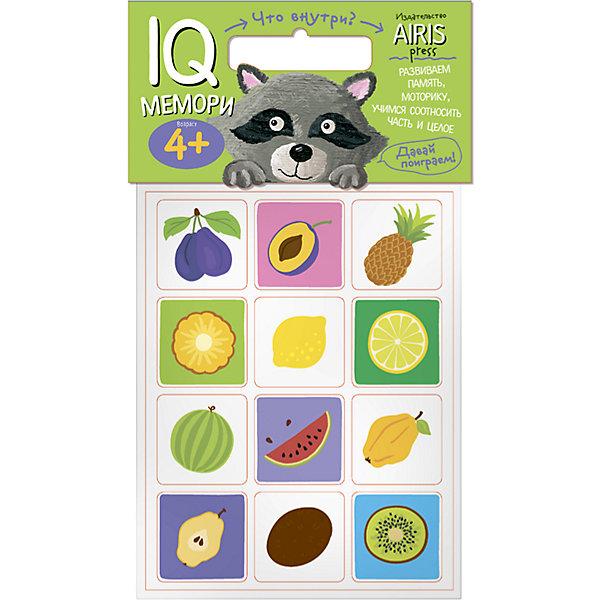 Мемори Что внутри?Обучающие игры<br>Характеристики товара:<br><br>• возраст: от 4 лет<br>• комплектация: 24 объёмных карточек с цветными рисунками<br>• автор: Куликова Е.Н.<br>• производитель: Айрис-пресс<br>• серия: IQ игры<br>• материал: EVA<br>• размер карточки: 5х5 см.<br>• упаковка: пакет с хедером<br>• размер упаковки: 22,5х17,5х2 см.<br>• вес: 66 гр.<br><br>Мемори «Что внутри?» – это увлекательная настольная игра для развития способности ребёнка соотносить часть и целое, тренировки его памяти и моторики.<br><br>Набор состоит из 24 объёмных карточек с цветными рисунками. Карточки сделаны из мягкого, прочного и безопасного материала EVA. Они удобно ложатся в детскую ручку и отлично подходят для познавательных игр.<br><br>Цель игры  — собрать как можно больше парных карточек по принципу «предмет и его часть». В игре принимают участие несколько человек. Победителем становится тот, кто собрал больше парных карточек.<br><br>На упаковке набора даётся описание, как играть с мягкими карточками.<br><br>Игру Мемори Что внутри? можно купить в нашем интернет-магазине.