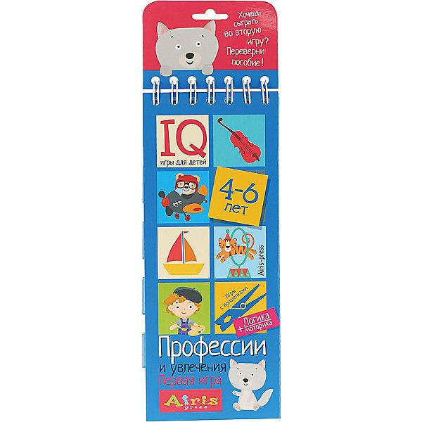 Игры с прищепками Профессии и увлеченияКниги для развития мышления<br>Характеристики товара:<br><br>• возраст: от 4 лет<br>• комплектация: блокнот на пружине, состоящий из 30 картонных карточек; 8 разноцветных прищепок.<br>• производитель: Айрис-пресс<br>• серия: IQ игры<br>• иллюстрации: цветные<br>• размер блокнота: 23,5х9,5х1,5 см.<br>• размер прищепки: 3,5х0,5х1 см.<br><br>«Профессии и увлечения» – это игровой комплект, который расширяет представления ребёнка о профессиях, инструментах, профессиональной одежде и результатах труда, развивает логику.<br><br>Комплект представляет собой небольшой блокнот на пружине, состоящий из 30 картонных карточек, и 8 разноцветных прищепок.<br><br>На красочных станицах блокнота в два столбика расположены карточки с рисунками. У каждой карточки есть своя логическая пара. Задача ребенка – найти парные картинки и прикрепить к ним прищепки одного цвета, располагая их в округлых прорезях с боков карточек. Когда все задания на страничке выполнены, ребенок может самостоятельно проверить правильность решения. Для этого нужно перевернуть страницу и провести пальчиком по лабиринту на обратной стороне. Если линия соединяет прищепки одного цвета, значит задание выполнено, правильно.<br><br>Выполняя задания на карточках-страничках, ребёнок учится анализировать, сравнивать, искать логические связи. Прикрепляя прищепки и проходя лабиринты, он развивает моторику и координацию движений.<br><br>Простота и удобство комплекта позволяют использовать его в детском саду, дома и на отдыхе.<br><br>Игры с прищепками Профессии и увлечения можно купить в нашем интернет-магазине.<br>Ширина мм: 15; Глубина мм: 95; Высота мм: 240; Вес г: 155; Возраст от месяцев: 48; Возраст до месяцев: 72; Пол: Унисекс; Возраст: Детский; SKU: 6849562;