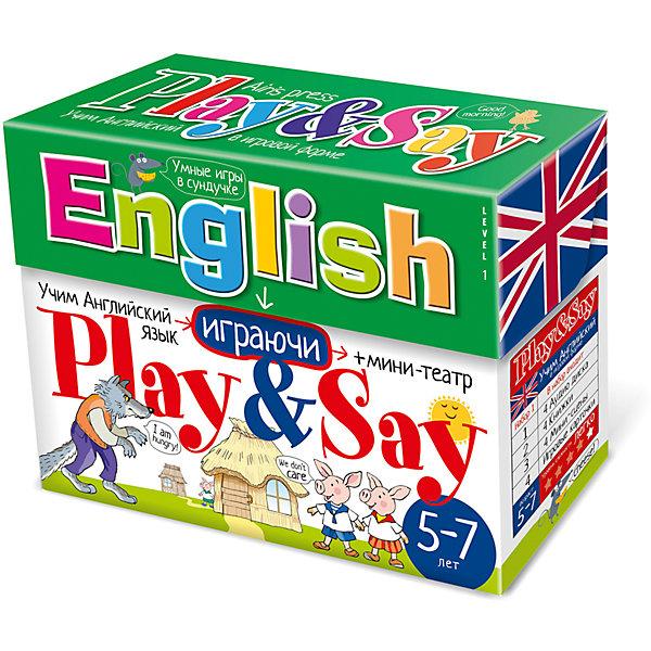 Учим английский язык Play&amp;Say, уровень 1Иностранный язык<br>Характеристики товара:<br><br>• возраст: от 5 лет<br>• комплектация: 4 книги со сказками («Три поросёнка», «Репка», «Теремок», «Кошка и мышка»); компакт-диск; набор игровых карточек; объемный мини-театр (4 мини-сцены, герои, предметы из сказок); сборник с методическими рекомендациями.<br>• производитель: Айрис-пресс<br>• серия: Умные игры в сундучке<br>• упаковка: картонная коробка-сундучок<br>• размер упаковки: 16,5х22,7х6,8 см.<br>• вес: 674 гр.<br><br>Набор Учим английский язык «Play&amp;Say», уровень 1 из серии «Умные игры в сундучке» поможет детям преодолеть языковой барьер и начать говорить по-английски.<br><br>В набор входят 4 книги со сказками, адаптированными специально для детей младшего школьного возраста («Три поросёнка», «Репка», «Теремок», «Кошка и мышка»). К сказкам прилагается компакт-диск, на котором представлены аудиозаписи сказок. Также в сундучке вы найдёте набор игровых карточек, разработанный таким образом, что ребёнок во время игры сможет с удовольствием и не заметно для себя выучить новые английские слова (более 200 слов), научиться строить предложения в настоящем времени, вести диалог, описывать героев и комментировать события. В набор также входит объемный мини-театр с игровыми фигурками (4 мини-сцены, герои и предметы из сказок). Мини-театр позволит разыграть четыре спектакля по мотивам входящих в набор сказок.<br><br>Кроме того, в сундучке вы найдёте сборник с методическими рекомендациями, который поможет вам правильно организовать работу со всеми элементами набора.<br><br>Набор Учим английский язык Play&amp;Say, уровень 1 можно купить в нашем интернет-магазине.<br>Ширина мм: 65; Глубина мм: 220; Высота мм: 165; Вес г: 670; Возраст от месяцев: -2147483648; Возраст до месяцев: 2147483647; Пол: Унисекс; Возраст: Детский; SKU: 6849581;