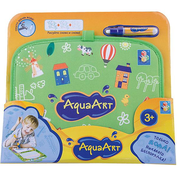 Коврик для рисования, зеленый, 1toy AquaArtДоски и коврики для рисования<br>Характеристики товара:<br><br>• возраст: от 3 лет;<br>• материал: пластик, нейлон;<br>• в комплекте: коврик, маркер;<br>• размер коврика: 47х30 см;<br>• размер упаковки: 34х31х2,5 см;<br>• вес упаковки: 300 гр.;<br>• страна производитель: Китай.<br><br>Коврик для рисования 1toy AquaArt зеленый — увлекательная игрушка, которая позволит малышам проявить свои творческие способности. Коврик выполнен в виде складывающейся папки с ручками. На нем 2 поверхности для рисования. На одной из них рисование одним цветом, на другой получаются радужные рисунки. Рисование происходит обычной водой. Для этого надо наполнить водой маркер и можно приступать к творчеству. Через некоторое время рисунки высыхают и исчезают. На чистом коврике можно снова рисовать. <br><br>Коврик для рисования 1toy AquaArt зеленый можно приобрести в нашем интернет-магазине.<br>Ширина мм: 450; Глубина мм: 350; Высота мм: 330; Вес г: 300; Возраст от месяцев: 36; Возраст до месяцев: 2147483647; Пол: Унисекс; Возраст: Детский; SKU: 6851266;