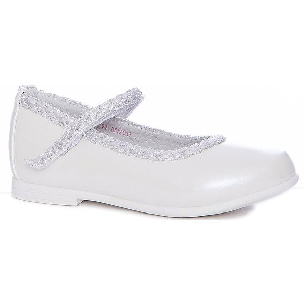 Туфли Mursu для девочкиНарядная обувь<br>Характеристики товара:<br><br>• цвет: белый<br>• материал верха: искусственная кожа<br>• подклад: натуральная кожа<br>• стелька: натуральная кожа<br>• подошва: ТЭП<br>• сезон: круглый год<br>• особенности модели: школьные, нарядные<br>• застежка: липучка<br>• анатомические <br>• страна бренда: Финляндия<br>• страна изготовитель: Китай<br><br>Туфли для девочки Mursu - это отличный вариант обуви, которую можно использовать как сменную или надевать в торжественных случаях. Удобная застежка позволяет быстро надеть и снять обувь. <br><br>Качественные материалы обеспечивают комфортные условия для ног. Универсальный цвет подходит под любой наряд.<br>Обувь Мурсу - это качественная финская продукция, которая помогает детям выглядеть модно и чувствовать себя удобно.<br><br>Туфли для девочки Mursu можно купить в нашем интернет-магазине.<br>Ширина мм: 227; Глубина мм: 145; Высота мм: 124; Вес г: 325; Цвет: белый; Возраст от месяцев: 36; Возраст до месяцев: 48; Пол: Женский; Возраст: Детский; Размер: 27,32,31,30,29,28; SKU: 6851559;